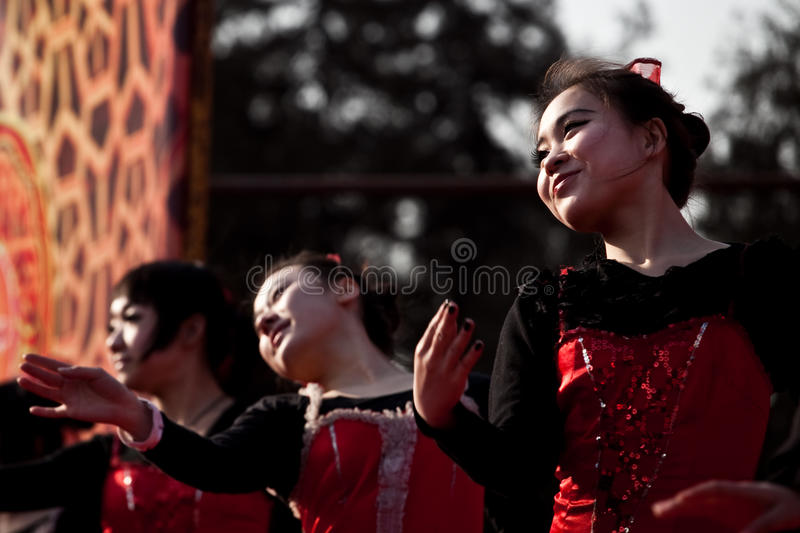 Chinese dancers during Chinese New Year royalty free stock images