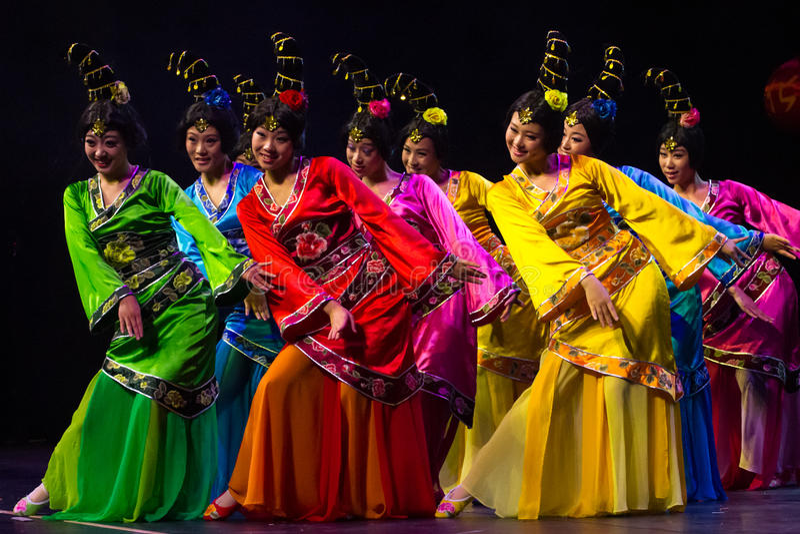 Chinese dancers. Zhuhai Han Sheng Art Troupe. stock image