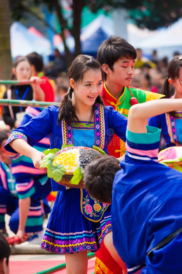 Chinese dancing girl in Zhuang ethnic Festival royalty free stock photography