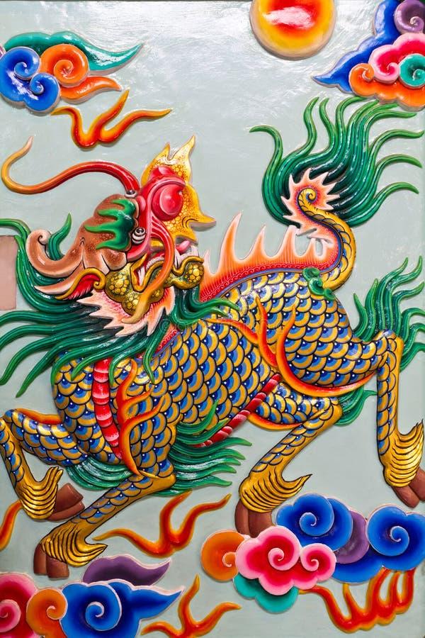Chinese de kunstkilin van het stijlbeeldhouwwerk stock foto