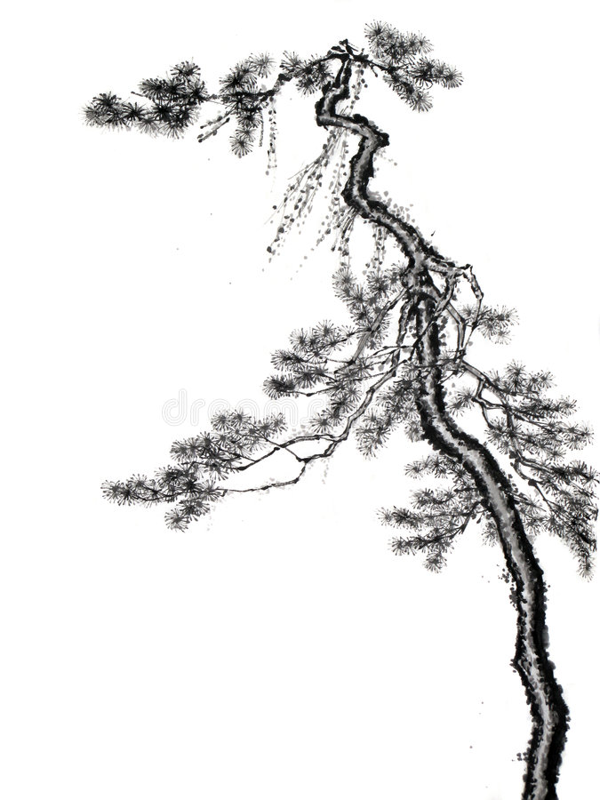 Chinese de tekeningsboom van de inktborstel stock illustratie