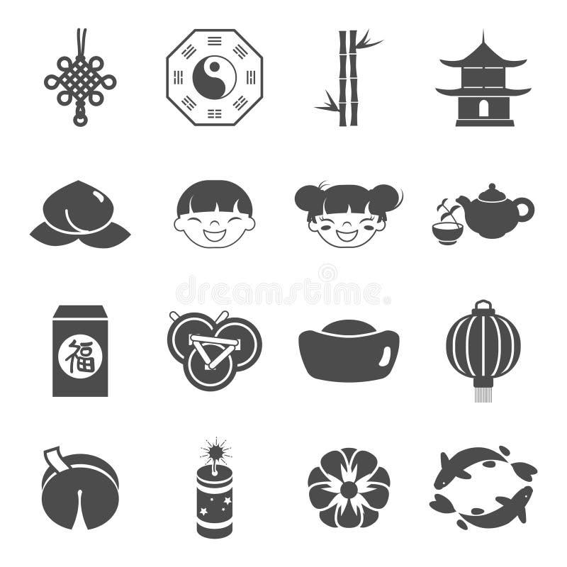 Chinese de vieringspictogrammen van de partijvakantie geplaatst vectorillustratie vector illustratie