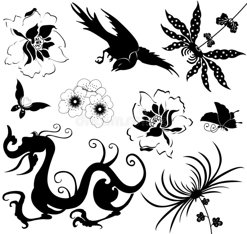 Download Chinese Design Elements On White Stock Vector - Image: 21812223