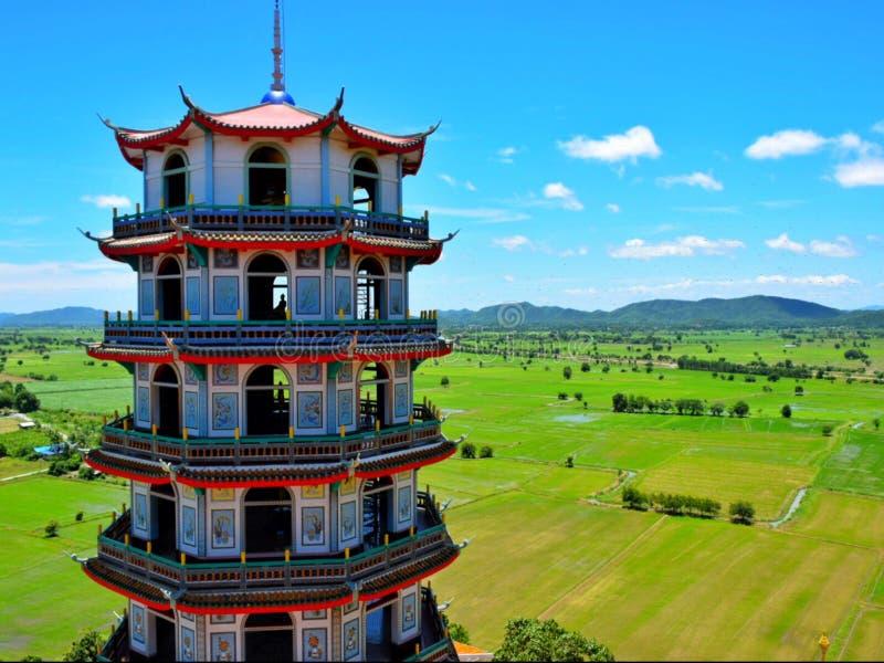 Chinese die pagode in de tempel op de heuvel wordt gevestigd stock foto's