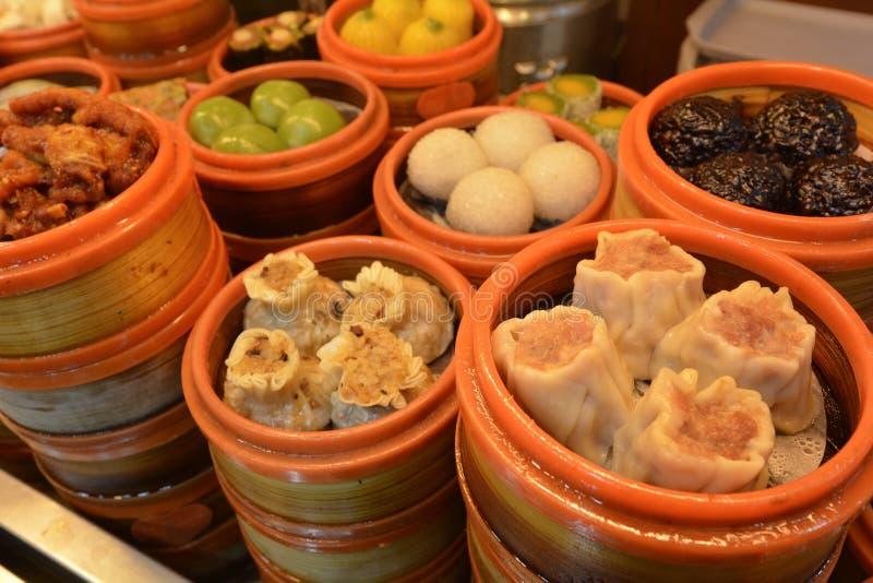 Chinese Dim sum dumplings food in Shanghai China. Chinese Dim sum dumplings food on display in Shanghai, China royalty free stock images