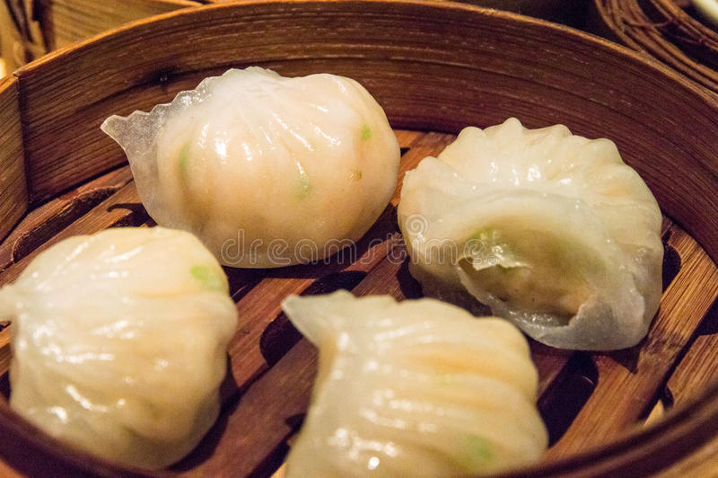 Chinese Dimsum 'Hagao' in bamboo basket royalty free stock image