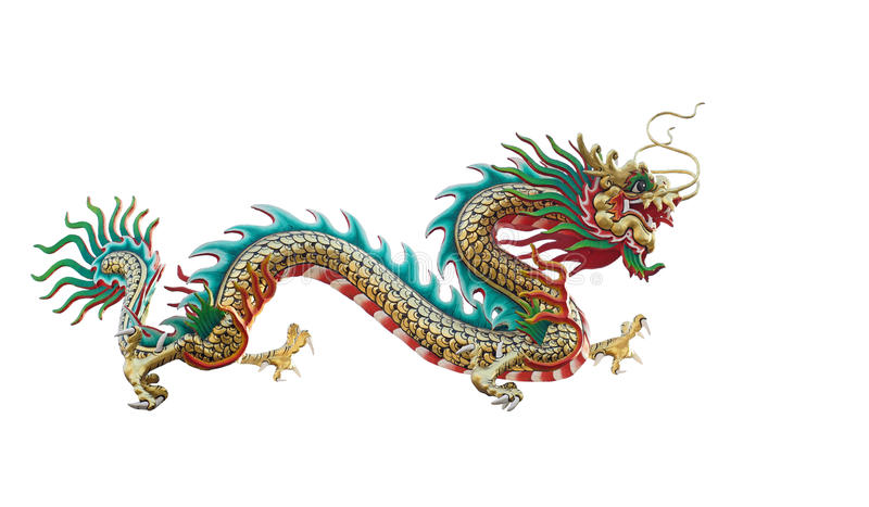 Chinese draak die op wit wordt geïsoleerdh stock afbeeldingen