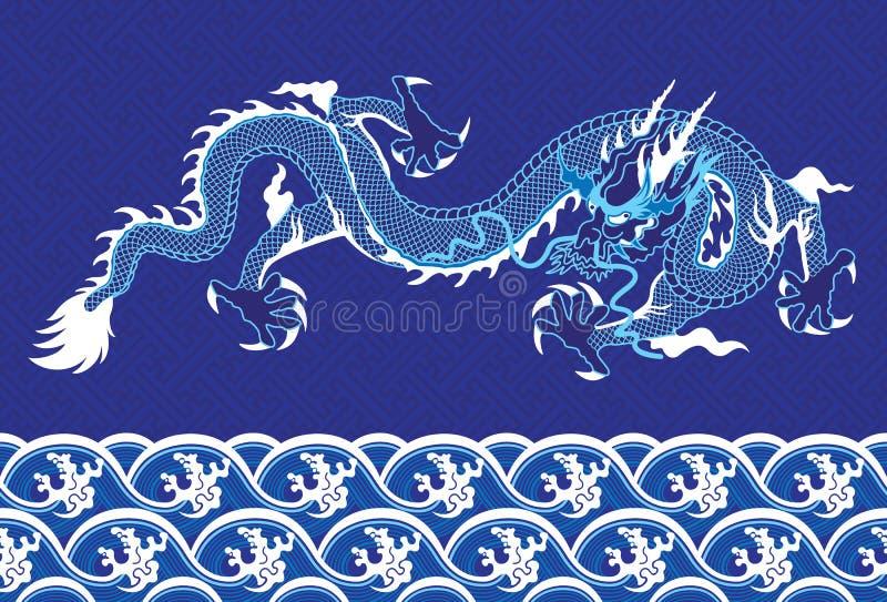 Chinese Draak op het overzees stock illustratie