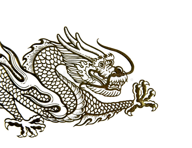 Chinese dragon. Traditional Chinese dragon shot on white stock photos