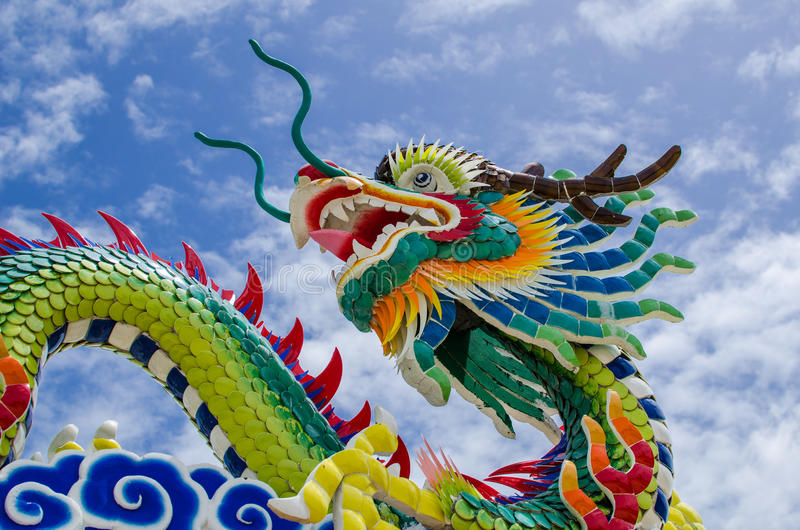 Chinese dragon. At Rayong, east of Thailand stock photography