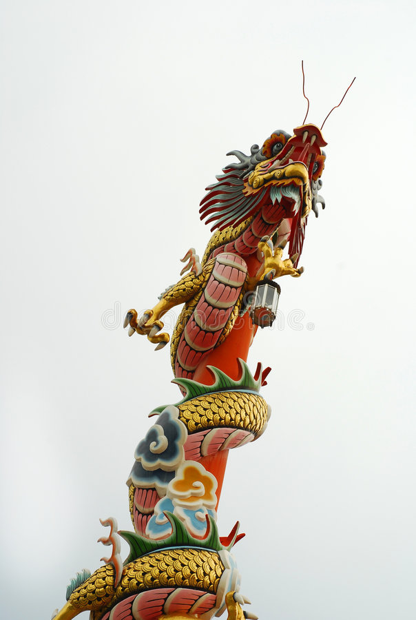 Chinese dragon. Isolated Chinese dragon on the top of a roof stock image