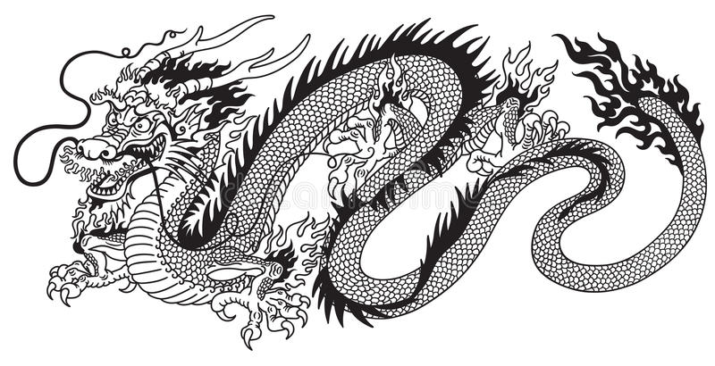 Chinese dragon black and white stock illustration