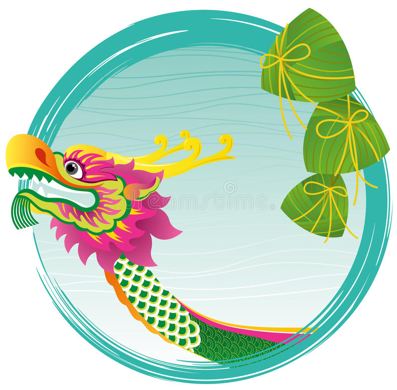 Chinese Dragon boat head and zong zi art design royalty free illustration