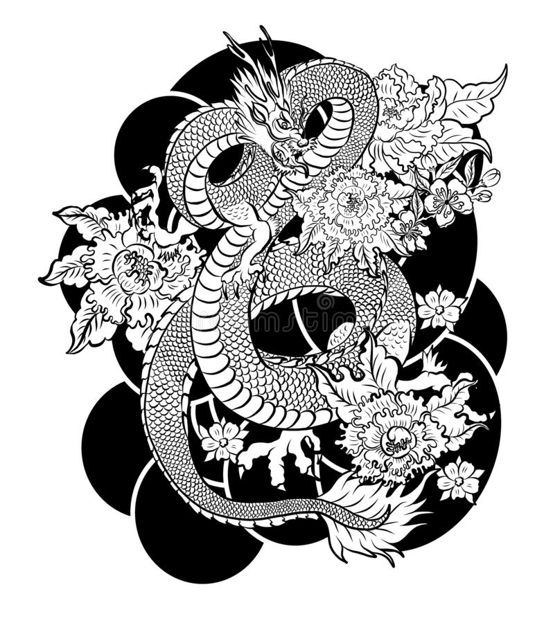 Chinese Dragon Illustration On Background For T Shirt Traditional Asian Tattoo The Old Dragon Vector Stock Vector Illustration Of Design Japanese 184635361