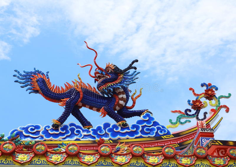 Chinese dragon. An image of dragon on a roof top of dragon Chinese temple. Dragon statue under blue dragon sky. Four dragons royalty free stock image