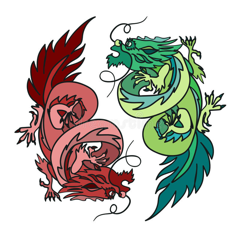 chinese dragon oriental feng shui stock illustration illustration rh dreamstime com Cool Vector Yin Yang Transparent