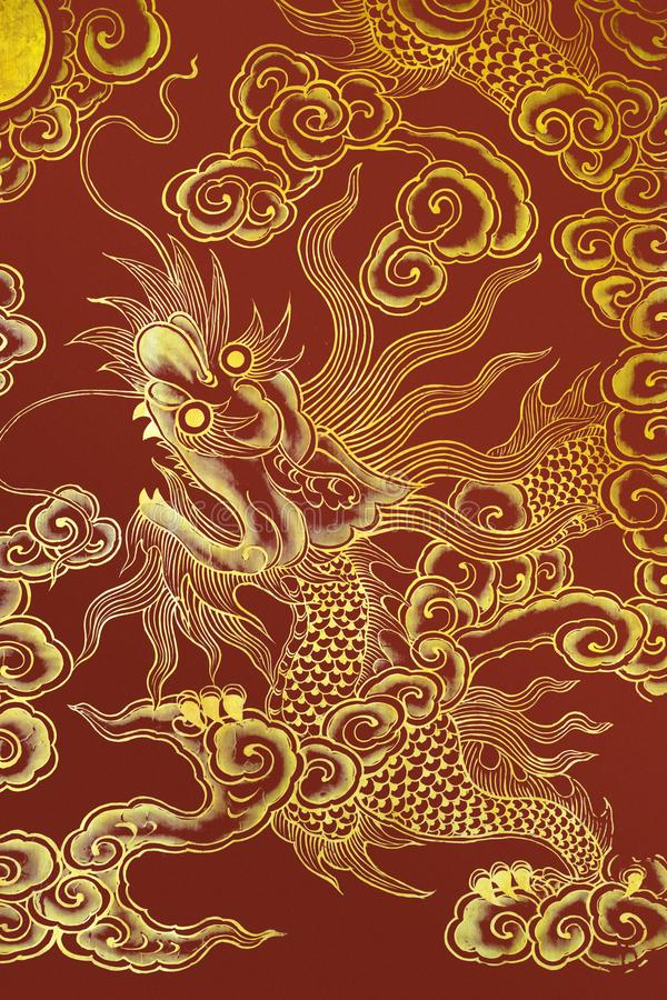 Chinese dragon painted on a wall stock image