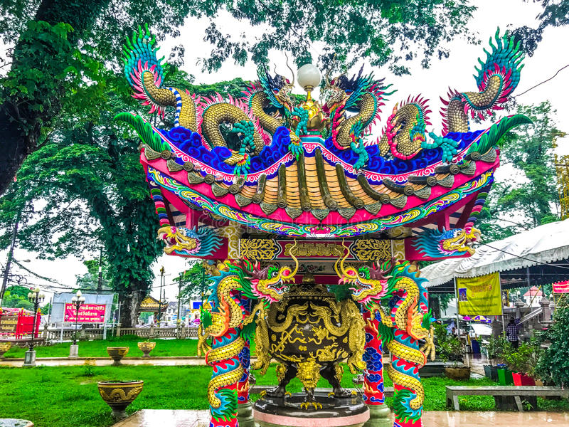 Chinese dragon and pavilion stock photo