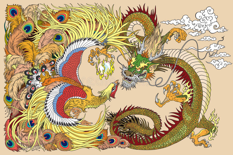 Chinese dragon and phoenix playing a pearl vector illustration