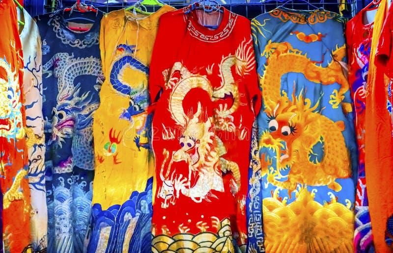 Chinese Dragon Replica Silk Garments Panjuan Flea Market Decora royalty free stock photo