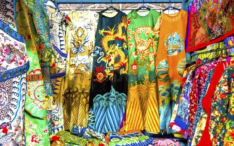 Chinese Dragon Replica Silk Robe Panjuan Flea Market Beijing Ch stock images