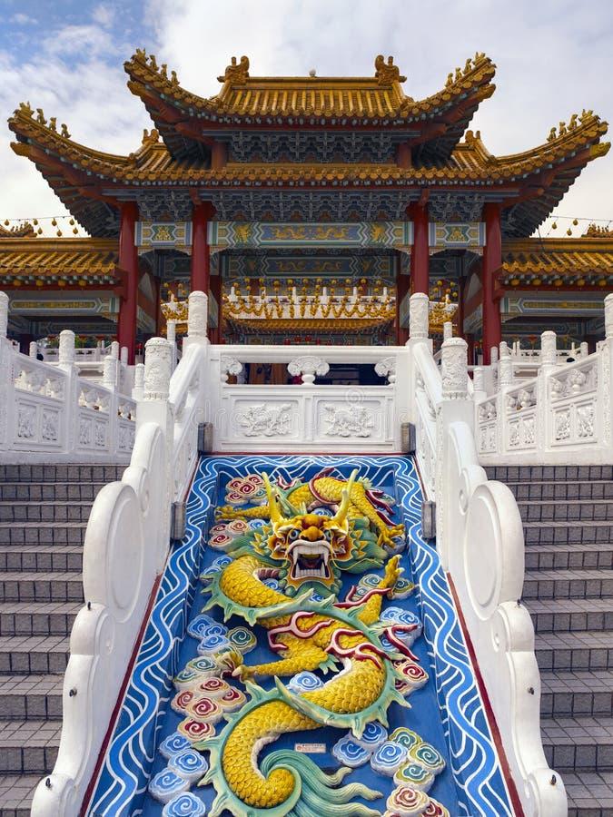 Chinese Dragon scuplture - Kuala Lumpur - Malaysia. Chinese dragon sculpture in the Thean Hou Chinese Temple in Kuala Lumpur, Malaysia. Thean Hou is a six-tiered stock images