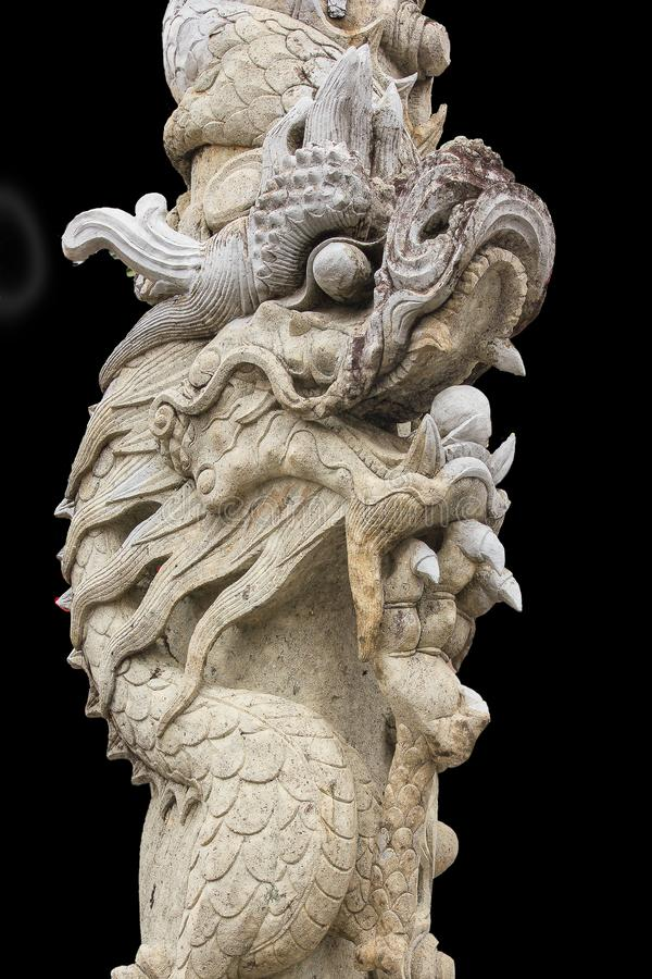Chinese dragon-shaped carved stone in Thai temples. To decorate the place stock photos