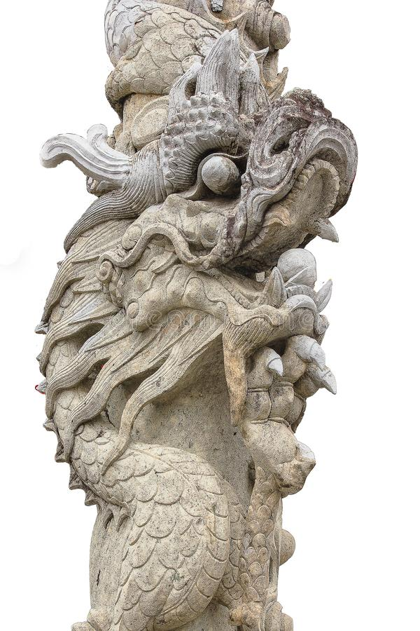 Chinese dragon-shaped carved stone in Thai temples. Use to decorate the place stock image