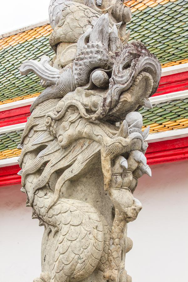 Chinese dragon-shaped carved stone in Thai temples. Chinese dragon-shaped carved stone To be beautiful, unique in Thai temples stock photos