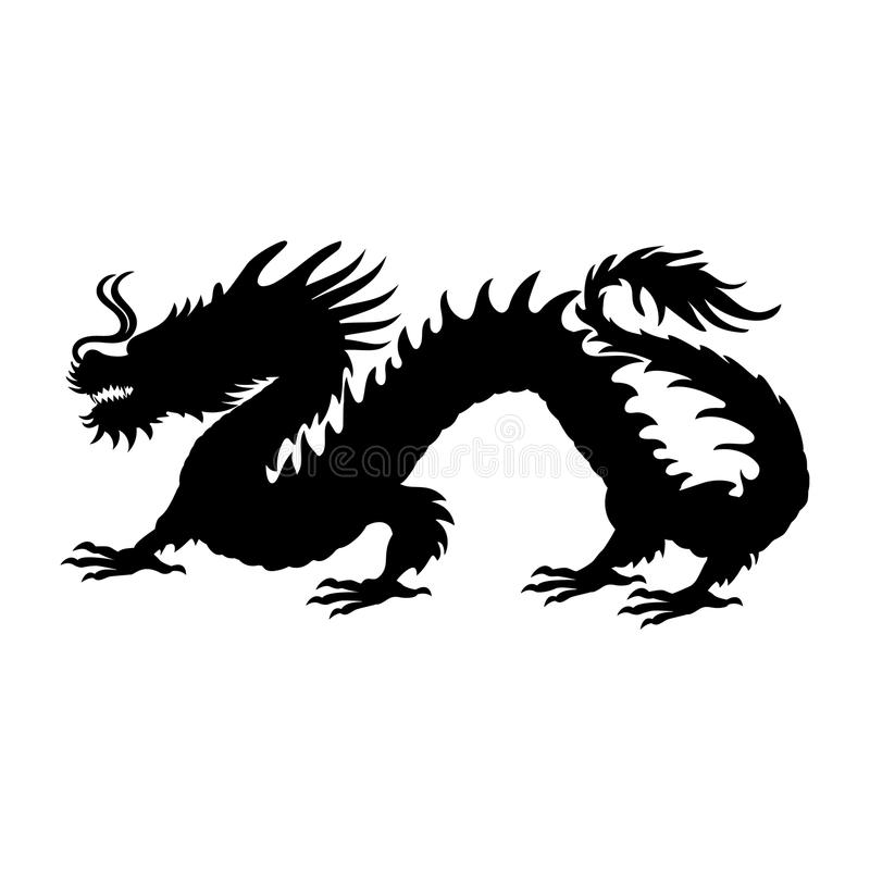 Chinese Dragon Silhouette Symbol Traditional China Stock Vector