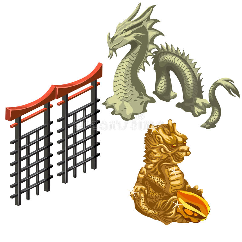 Chinese dragon, snake and fragment of wall royalty free illustration