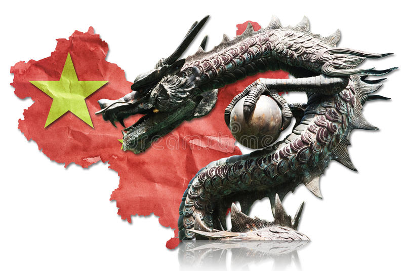 Download Chinese Dragon Statue On Chinese Flag. Stock Image - Image: 24005061