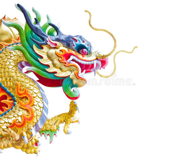 Chinese dragon statue isolated on the white royalty free stock photography