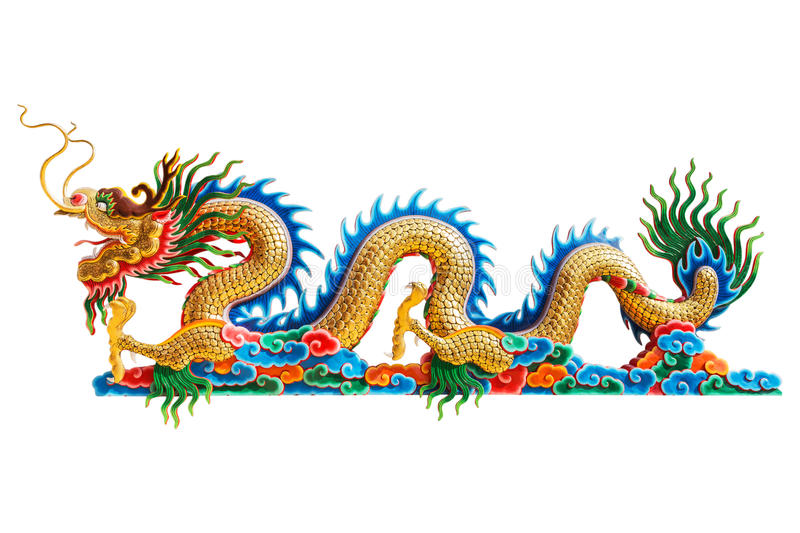 Chinese dragon statue on white background. Colorful chinese dragon statue on white background stock image