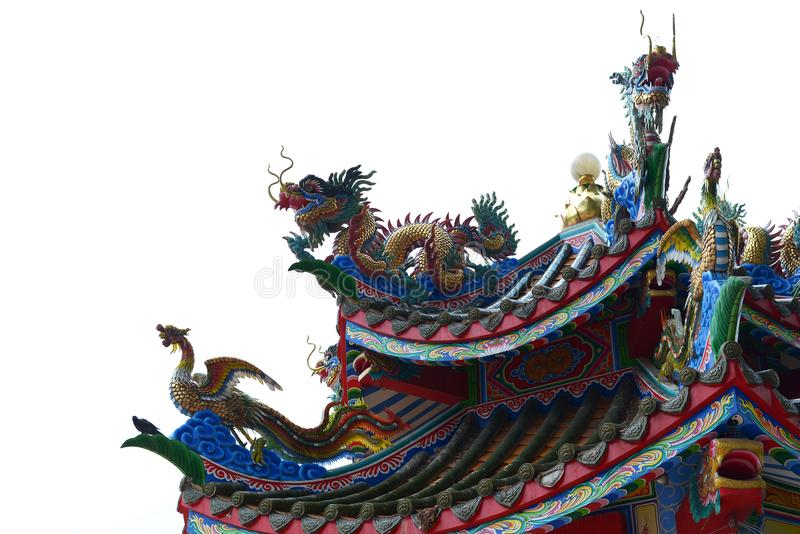 Chinese dragon and swan roof Chinese style stock photo