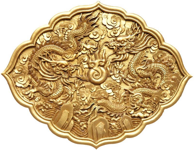Chinese dragon symbol. The golden Chinese dragon symbol isolated on white royalty free stock photo