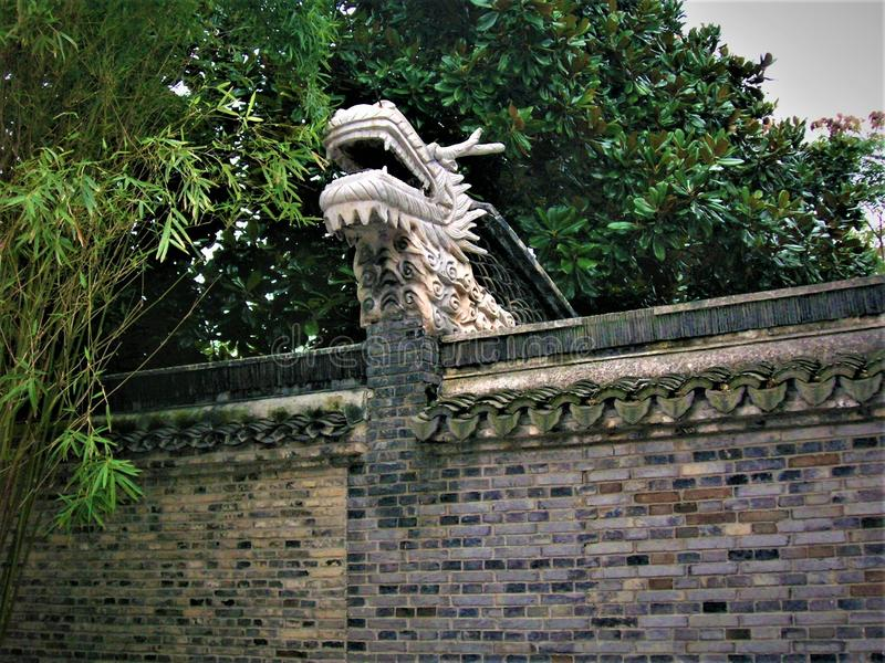 Chinese dragon and wall royalty free stock images