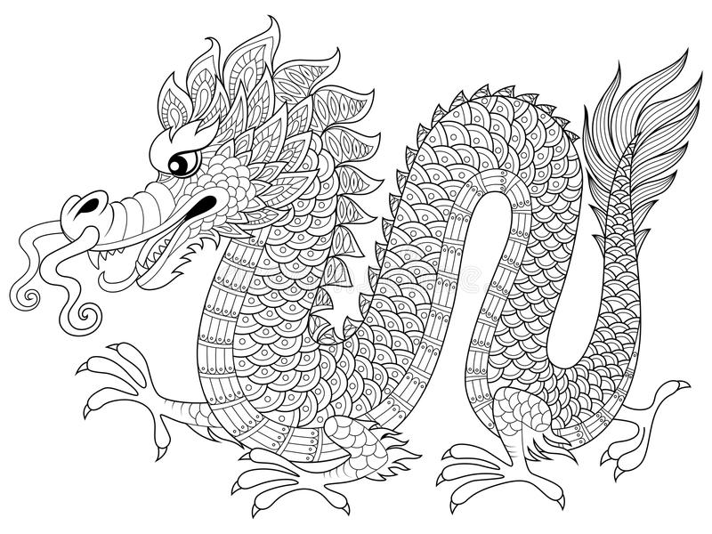 Chinese dragon in zentangle style. Adult antistress coloring page royalty free illustration