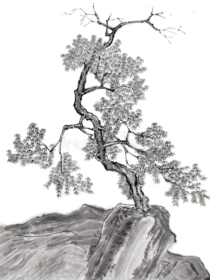 Tree on mountain Chinese drawing stock illustration