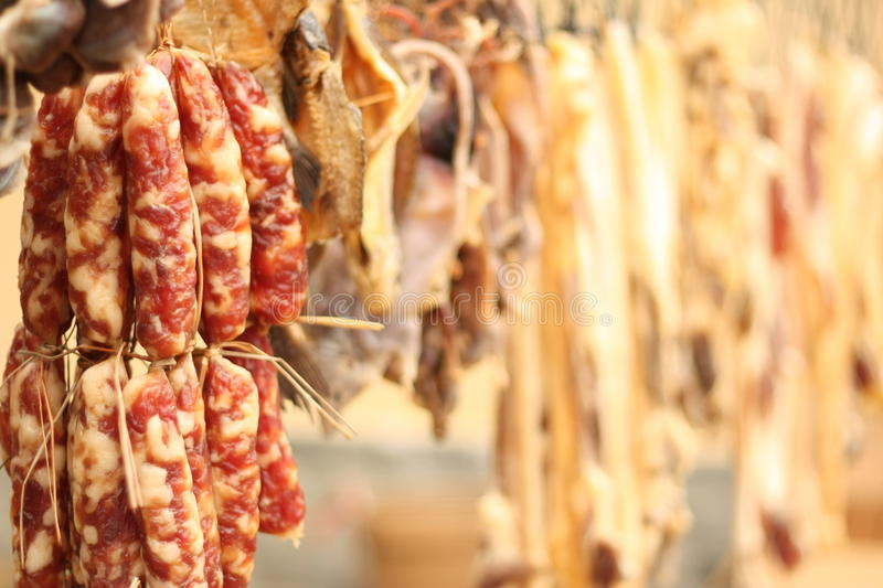 Chinese dry Sausage royalty free stock photography