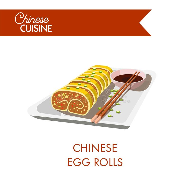 Chinese egg rolls served with soy sauce and chopsticks royalty free illustration