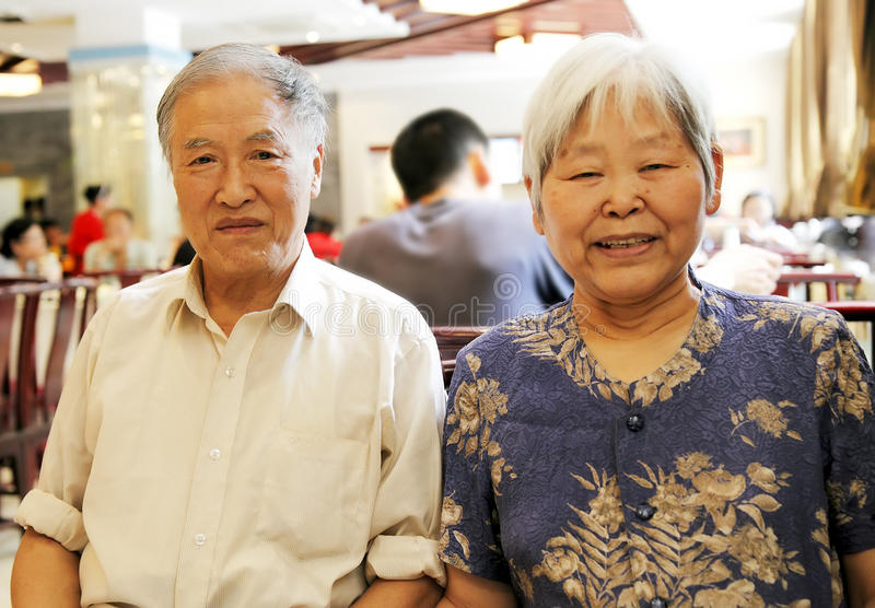 Chinese elderly couple stock photography