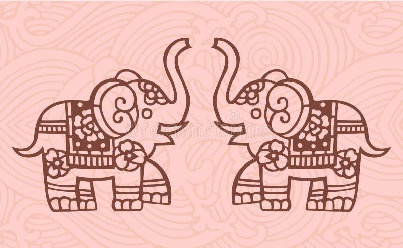 Chinese elephants. Elephants with decorated background - Oriental style royalty free illustration