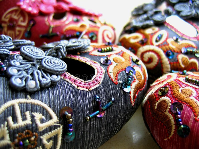 Chinese embroidery shoes royalty free stock photo