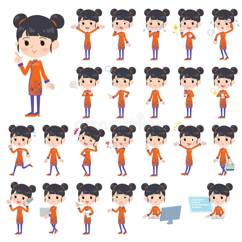 Chinese ethnic clothing woman royalty free illustration