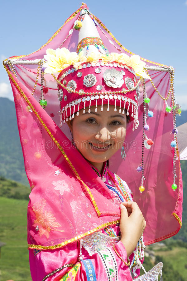 Chinese Ethnic Girl in Traditional Dress royalty free stock image