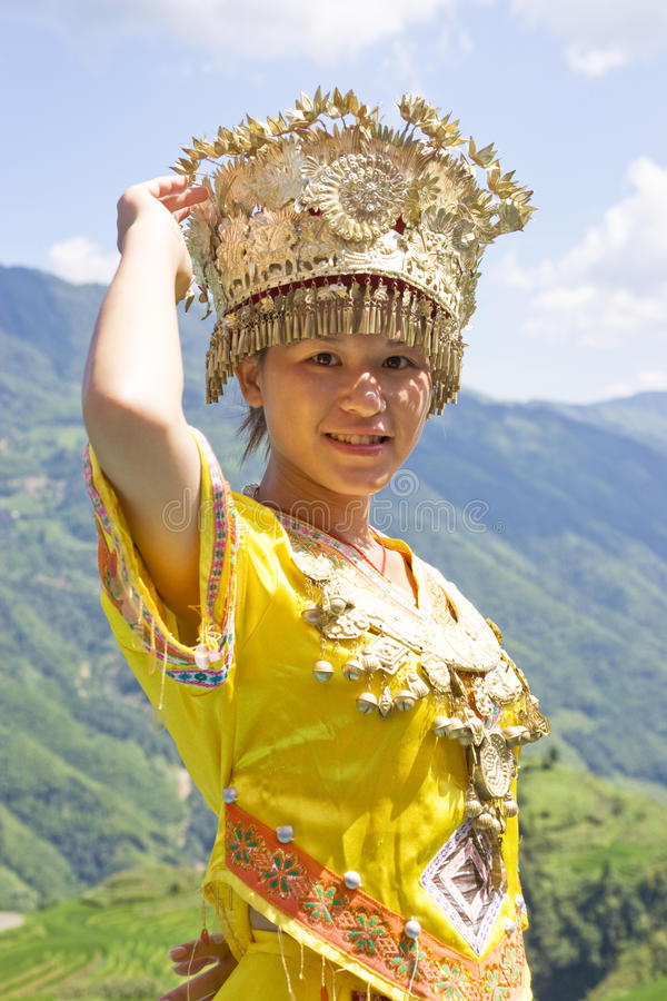 Chinese Ethnic Girl In Traditional Dress Editorial Stock Image