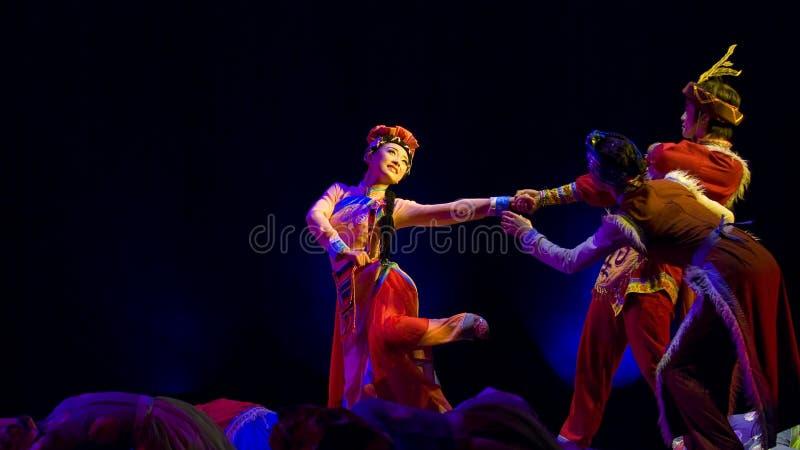 Chinese etnische Dans Drame stock afbeelding