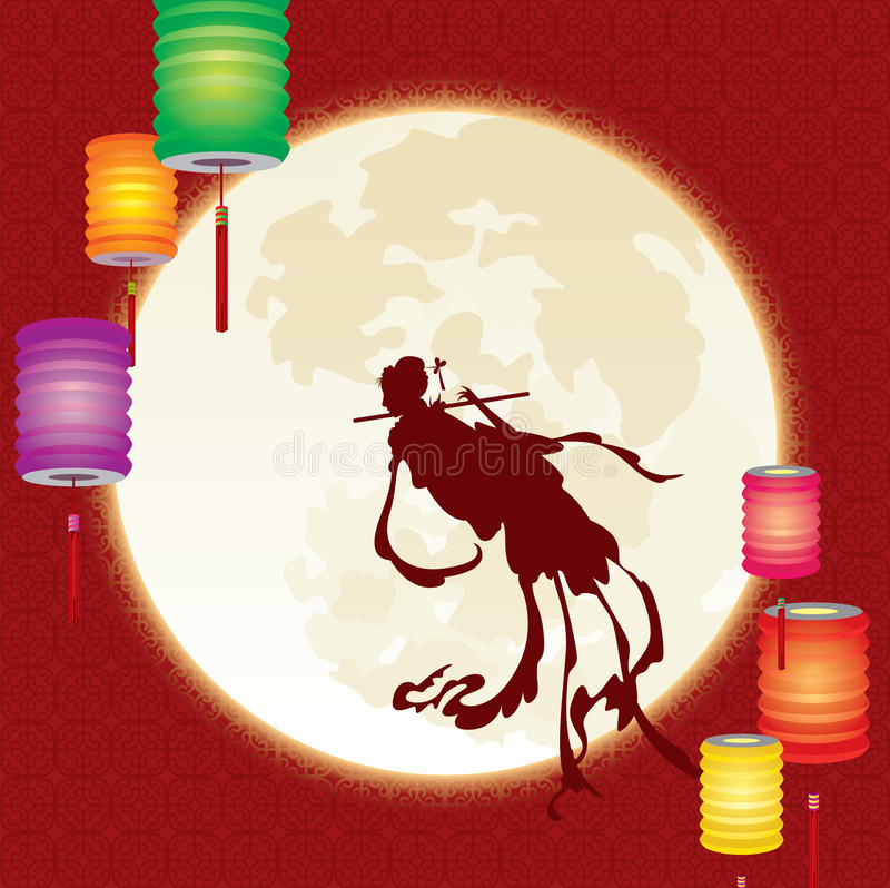 Chinese fairy fly to the moon stock illustration