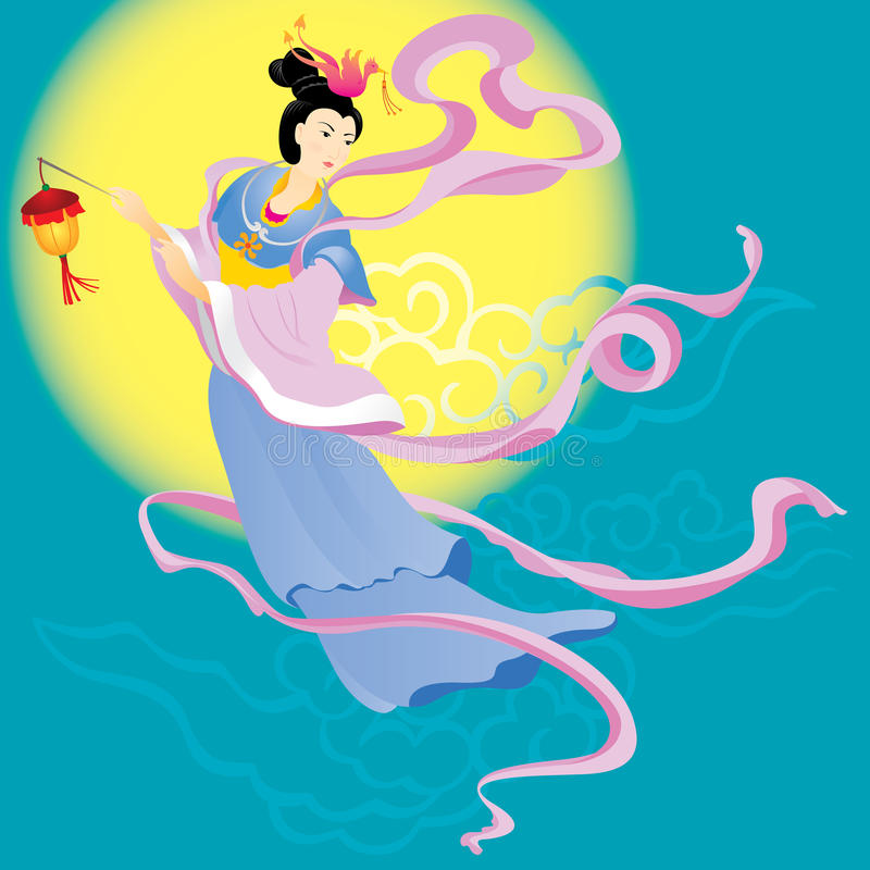 Chinese fairy flying to the moon royalty free illustration